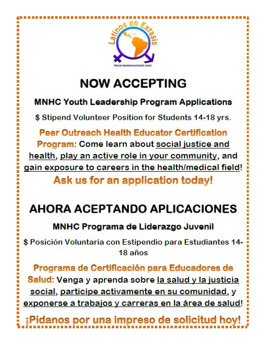 Latinos en Extasis Youth Program Enrollment Deadline